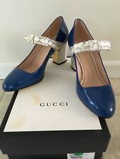 GUCCI Nimue Royal Blue/Python Bow Mary Jane Shoes IT38/US 8 $980 NIB PERFECTCOND