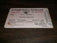 1952-1953 LEHIGH VALLEY RAILROAD EMPLOYEE PASS #15000