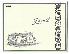 GET WELL SOON Greeting Card - PICK UP TRUCK and BLACK FLOWERS - Handmade A5 size