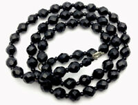 Vintage French Jet Black Glass Faceted Bead Necklace 24 Inches GIFT BOXED