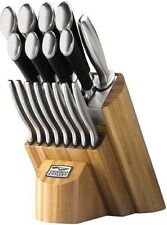 Kitchen Knives Cutlery Butcher Block Gourmet Stainless Set Cooking Blades 18 pc