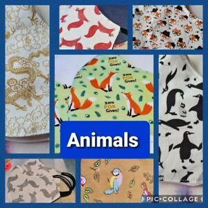 THE ANIMALS COLLECTION - Hand Made Reusable Cotton Face Mask/Face Covering