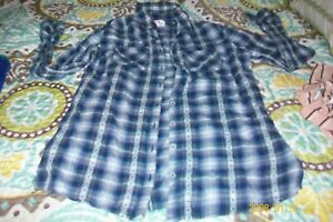 GIRLS  BLOUSE JUSTICE SIZE 16 LONG SLEEVES BLUE PLAID