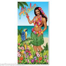 LUAU Hawaiian Hula Girl ALOHA DOOR Wall COVER Party Decoration PHOTO PROP