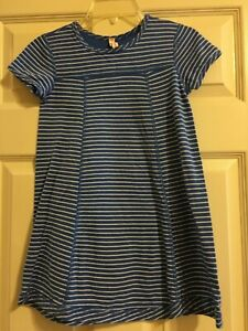 Hanna Andersson Blue and White Striped Dress Girls Size 120 6-7