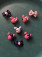 3D Minnie Mouse,bows Lot 8 Shoe,Bracelet,Lace Adapter Charms. Fit Namebrand Croc