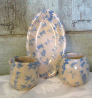 Blue White Spongeware Stoneware YELLOW BANKS POTTERY Cream & Sugar Set BB