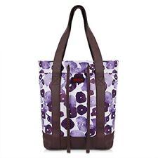 JEMIA White Tote Handbag with Purple pattern - Magnet and Drawstring Closure