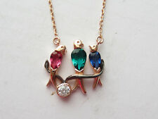 ROSE 925 STERLING SILVER RUBY EMERALD SAPPHIRE TURKISH HANDMADE BIRDS NECKLACE