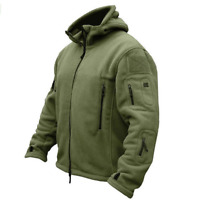 Men's Military Fleece Tactical Softshell Jackets Thermal Polar Hooded Outerwears