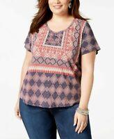 Lucky Brand Women's Trendy Plus Boho Cotton Printed T-Shirt Top SIZE 2X 3X