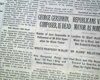GEORGE GERSHWIN American Jewish Music Composer & Pianist DEATH 1937 Newspaper