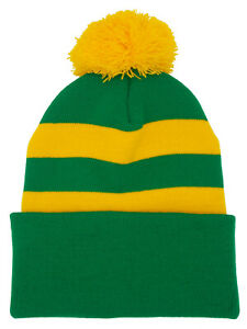 Green and Gold Traditional Style Bobble Hat - Made in the UK