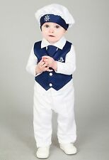 Baby Boys Christening Outfit / Christening Suit 4pc Sailor Suit Navy