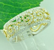 14k Solid 2 Tone gold Natural diamond  ring  Filigree eternity stylish band ring