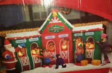 Gemmy Inflatable Christmas Reindeer Stable & Santa Claus 12'ft w/ extra blower
