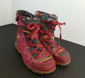 Women's US 8.5 Maroon Red Zipper Bohemian Suede Leather Splicing Hiking Boots
