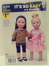 """Simplicity It's So Easy #A1274 Doll Clothes For 18"""" Doll/ Uncut/ Sewing Pattern"""