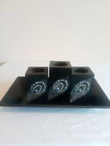 Black Wooden Candle Holders w/ Silver Studded Feather Design & Wood Tray