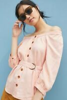 NWT Anthropologie Maeve Peach Alanis Belted Button Top Shirt Blouse 14