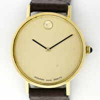 Rare Vintage Movado Museum 14K Yellow Gold Mechanical Zenith Movement 31mm Watch