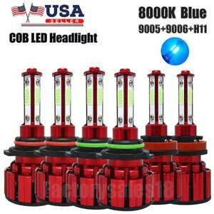 6PCS 9005 9006 H11 Combo COB LED Headlight Fog Lamp Bulb BLUE 8000K Hi-Lo Beam