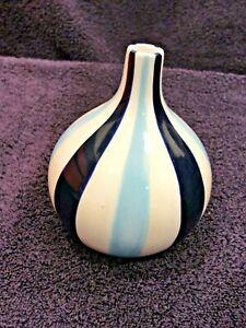 """Jonathan ADLER Happy Home Blue Stripes Bud Vase - Short Bulbous 5"""" Tall"""