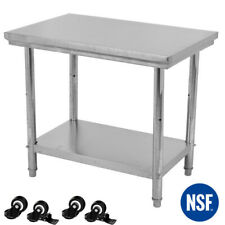 Stainless Steel 24 X 36 Nsf Commercial Kitchen Prep Table W Casters