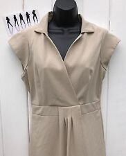 Liz Claiborne Beige Cap Sleeve Faux Wrap Knee Length Career Work Dress - Size 8