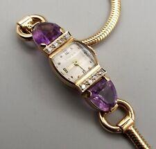 Vtg Tiffany & Co 14K Gold Diamond Amethyst Mechanical Ladies Watch 17j Movado