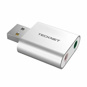 TECKNET USB Audio Adapter External Stereo Sound Adapter Aluminum with 3.5mm