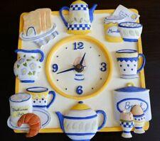 Lovely Vintage Kitsch Ceramic Kitchen Clock - Breakfast design
