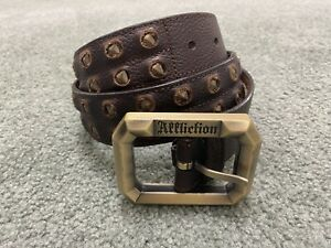 AFFLICTION Mens HEAVY Buckle & Heavy Leather Belt w/ Metal Studs Brown - XL