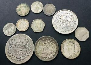 Antique Silver Middle East Coins  Egypt ,Iraq ,Morocco 89 grams