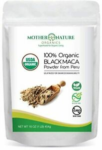 Madre Nature - Certified 100% USDA Organic Gelatinized Black Maca Powder - Fresh