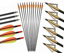 "12X Archery SP400 Carbon Arrows 31"" Screw in Tip Arrow & 3 Blade 125gr Broadhead"