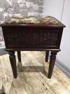 Antique Wooden Storage Haberdashery Sewing Box Stool Footstool