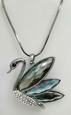 """Swan Bird Silver Smoky Gray Crystal 28"""" Silver Plated Extra Long Necklace Gift"""