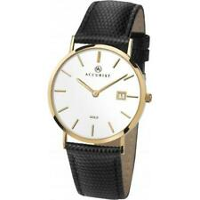 Accurist 7801 Mens 9carat 9K Yellow Gold Black Leather Strap Date Watch