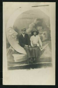Rare IL Chicago RPPC 1910's RIVERVIEW EXPO PAPERMOON Woman Holding Fishing Rod