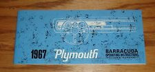 1967 Plymouth Barracuda Owners Operators Manual 67