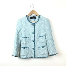 NWT Zara Basic Womens XS Light Blue White Linen Blend Long Sleeve Crop Jacket