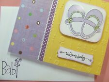 Handmade ~WELCOME BABY~ Card EMBOSSED Using Stampin Up! Boy Girl Shoes Dots 3D