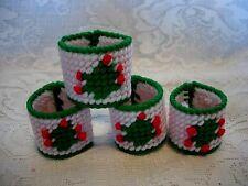 Set of 4 Hand Made Needlepoint Tree Holiday / Christmas Napkin Rings - NEW