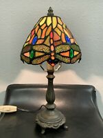 """Tiffany Style Dragonfly Table Lamp - Multi-color Stained Glass - 14.5"""" Tall"""