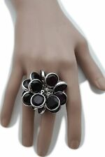 Jewelry Elastic Band Purple Beads Flower Women Silver Metal Chains Ring Fashion