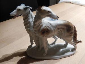 Schöne Porzellanfigur / Porzellan // Windhunde / 9443 gemarkt