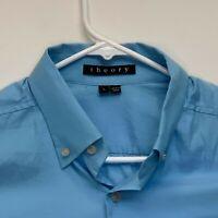 Theory Mens Designer Shirt Blue Large