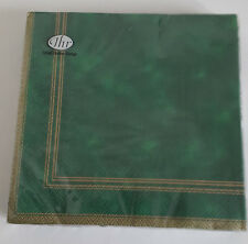 6 packs of 20 Lunch Paper Napkins. Sympony Green. 33x33cm. 3ply Green &Gold Trim