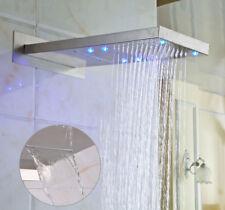 "LED 22"" Rain Waterfall Shower Head Brass Wall Mount Top Sprayer Brushed Nickel"
